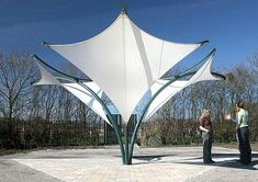 metal frame supported tensile structure SKYLAR FOUNTAIN Fabric Architecture