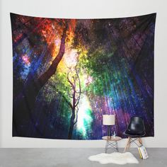 rainbow wall tapestry.forest wall by haroulitasDesign on Etsy