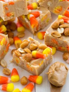 PAYDAY FUDGE - Warning: There's no going back to regular old chocolate fudge once you sink your sweet tooth into a square (or five). #candycorn #payday #dessert #baking #fudge #recipe