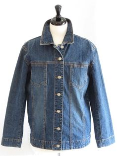 Womens Chico's Jean Denim Stretch Jacket Button Front Blue 1 8 Small #Chicos #JeanJacket