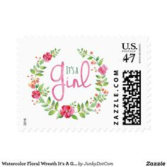 Watercolor Floral Wreath It's A Girl Postage Stamp @zazzle #junkydotcom Sept 6 2016