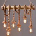 Suspension Industrielle Rétro corde Lustre Lampe suspension 6lumières Vintage Edison Light Corde chanvre et bambou suspension Leuchten Table Fur Salon Salle à manger lampe de cuisine Bar (Ampoules non incluses)