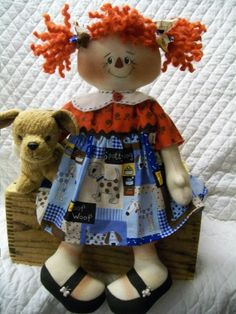 Primitive cute raggedy ann type doll with her by yellowsweetpotato
