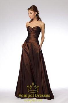 Chocolate Taffeta Sweetheart Dropped Waist Long Prom Dresses