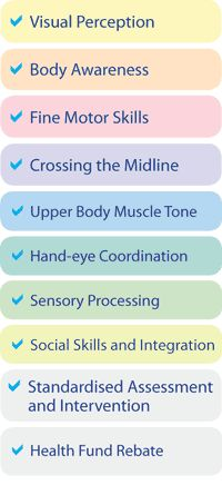 Paediatric Health Care | Occupational Therapy | Visual Perception | Proprioception | Fine Motor Skills | Crossing the Midline | Upper Body Muscle Tone | Visual Motor Integration | Social Skills | Healthrise