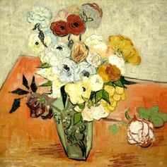 """Roses and anemones"" by Van Gogh. I love the colors he used in this painting. The whole composition is beautiful. Van Gogh was such a talented artist. Art Van, Van Gogh Art, Vincent Van Gogh, Desenhos Van Gogh, Van Gogh Still Life, Painting Prints, Fine Art Prints, Painting Abstract, Van Gogh Pinturas"