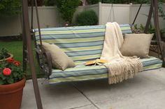 slip cover with ties for porch swing...i will be making one of these for the swing we just scored