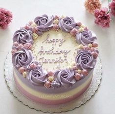 Birthday cake decorating ideas kuchen 65 ideas for 2019 Birthday Cake With Flowers, Birthday Cupcakes, Buttercream Birthday Cake, Birthday Cake Designs, Mother Birthday Cake, Pretty Birthday Cakes, Birthday Ideas, Happy Birthday, Cake Decorating Techniques