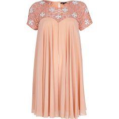 Light pink beaded lace panel babydoll dress - dresses - sale - women