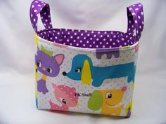 PK Fabric Basket in Plush Puppy  Ready To Ship  by PKStuff on Etsy