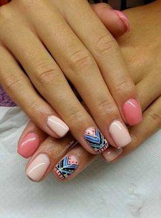 Imagen vía We Heart It https://weheartit.com/entry/97187914/via/9636089 #cute #girly #hipster #nails #pink #pretty #nailart #naildesigns #tribalprint