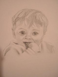 This little fellow is my Nieces son and was drawn  as a request from my sister to celebrate his first birthday. He was such a cutie at this age and is still a very good looking youngster now. I like the soft look of his jumper in this picture, I was experimenting in surfaces using graphite as a medium and found the softer leaded pencils helped create a softer effect perfect for his jumper.