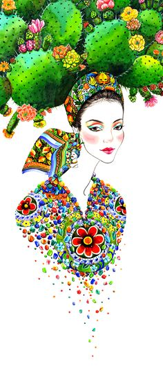 Illustration par Sunny Gu, fashion designer d'origine chinoise basée à Los… Floral Fashion, Fashion Art, Fashion Designer, Barbie Mode, Cactus, Art Et Illustration, Fashion Sketches, Fashion Illustrations, Art Forms