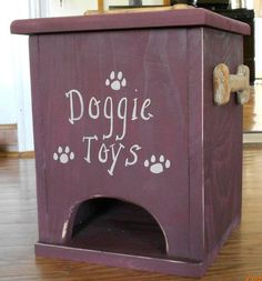 Small Doggie Toy Box.  I like this idea to rotate toys.  Put them in the top and pup pulls them from the bottom.  Always a new toy to play with.  Watch for hampers at thrift shops.