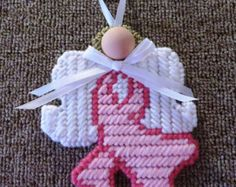Survivor needlepoint angel ornament