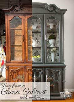 china cabinet painted with annie sloan chalk paint in graphite and rh pinterest com