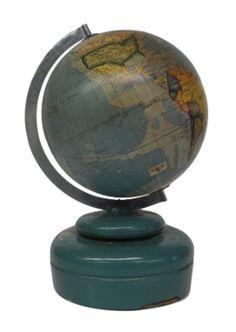 Globe Antique. Japanese Music Box globe. Untitled.  1963-1971. Table – Globe Diameter: 4.5 inches; Meridian Diameter: half; Overall: 7.75 high; 7.75 wide