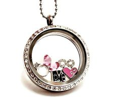Large Crystal Living Locket / Anniversary Necklace / Couples Necklace /  Floating Birthstone Charm Locket
