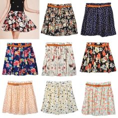 Women Retro High Waist Pleated Floral Chiffon Sheer Short Mini Skirt with Belt