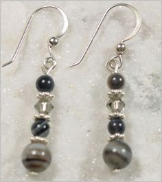 Black Lace Agate and Swarovski Crystal Earrings