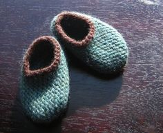 Wool Baby Slippers Jade and Chocolate by HandKnitHugs on Etsy, $18.00