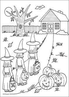 Dessin a colorier vacances Halloween et les sorcières | Coloriage à imprimer gratuit