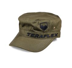 The TeraFlex cadet cap has a front embroidered TeraFlex logo on washed 100% cotton twill with unstructured front panels and hook and loop rear closure. Olive drab color, one size fits most.
