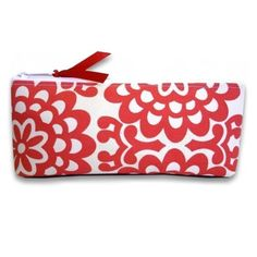 Cherry Red and Cream Floral Cosmetic Pouch with by kailochic