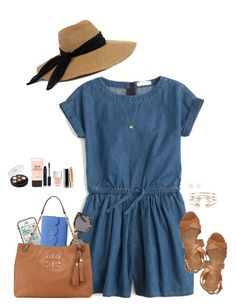 """""""For a Denim Romper/Dress Contest"""" by sc-prep-girl ❤ liked on Polyvore featuring J.Crew, Franco Sarto, Eugenia Kim, LifeProof, Kate Spade, Illesteva, Tory Burch, Chanel, Nails Inc. and shu uemura"""