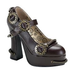 Women's Steam Punk Mary Jane Pumps with Victorian Spring and Sprocket Detailing and 5 inch chunky high heels