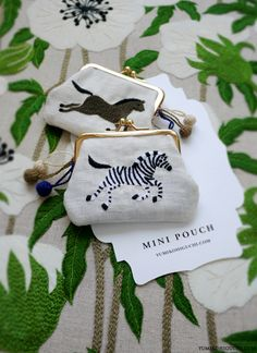 zebra and horse embroidery mini pouch by yumiko higuchi