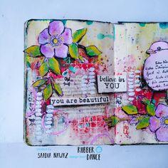 Art Journal Pages, Art Journals, Art Diary, Creative Journal, Flower Stamp, Dance Art, Artist Trading Cards, Flower Images, Art Journal Inspiration