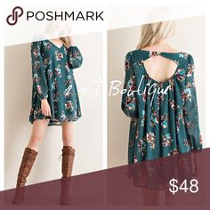 """JUST RESTOCKED Floral trapeze dress Step into Fall with this gorgeous Floral print trapeze long sleeve dress featuring back cut out with elastic stretch wrist. Non-sheer. Fully lined.  Color: Hunter Green. Available in size S(2-4), M(6-8), and L(10-12). 100% polyester. BUST: S-20"""", M-21"""", L-22"""".                                      LENGTH: S-33"""", M-34"""", L-35"""".  ATTN: dress is meant to be flowy but size down if you want less flowy. Can be worn with a belt. Belt is NOT included. COMMENT BELOW…"""