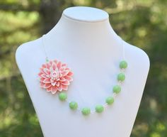 Large Pink and White Flower Chunky Asymmetrical Necklace with Soft Green Glass Beads.  Asymmetrical Statement Necklace.. $44.00, via Etsy.