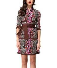Brown & Pink Pebble Eden Sheath Dress by Almatrichi #zulily #zulilyfinds