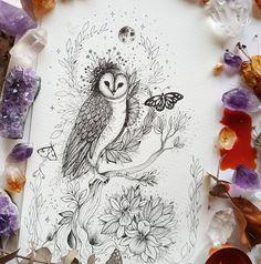 Feather Tattoo Design, Owl Tattoo Design, Feather Tattoos, Flower Tattoo Designs, Bird Tattoos, Nature Tattoos, Owl Tattoo Drawings, Tattoo Owl, Owl Tattoo Small