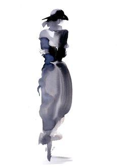 Experimental watercolor fashion illustration by Aurore de La Morinerie