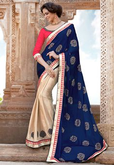 Blue and Fawn Faux Crepe and Faux Crepe Jacquard Saree with Blouse: SXZ2147