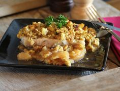 Three Ingredient Pork Chops with Stove Top Stuffing, Apple Pie Filling