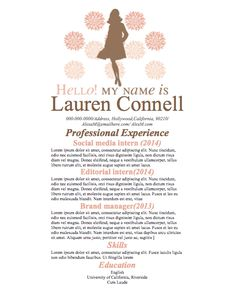 cute resume with flowers and vintage girl