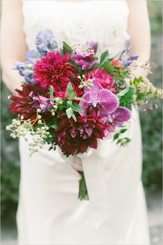 Burgundy and violet wedding bouquet. See more pretty stuff by designed by Denise Fasanello http://www.weddingchicks.com/2010/06/29/denise-fasamello-flower-ideas/