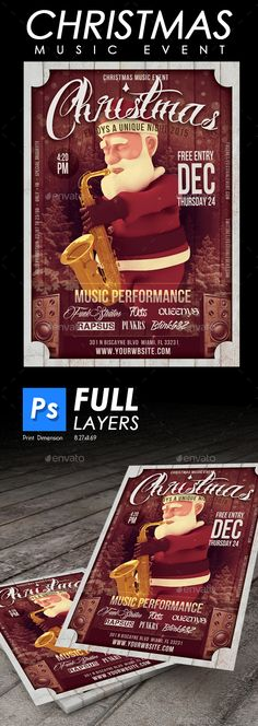 Christmas Music Flyer $4 XMAS Design created for events , bar, restaurants, etc. Size:8.27×11.69 inch zbr>3mm bleed. 300 dpi Fully layered and edit text include all . board, christmas, concert, event, fest, festival, flyer, grunge, hipster, holiday, music, music instrument, old style, promote, promotion, publicity, santa claus, saxo, snow, vintage, young