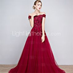 Formal Evening Dress - Floral A-line Off-the-shoulder Floor-length Tulle with Beading 2017 - $79.99