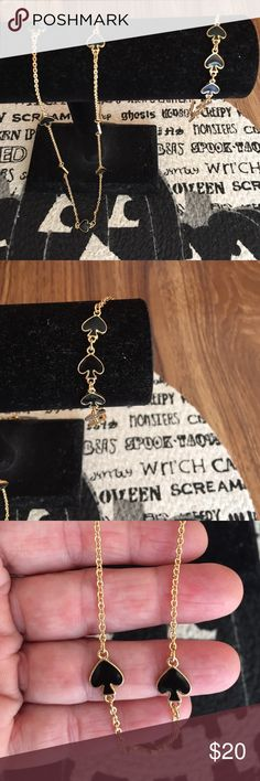 Fashion necklace and braclet Black and gold fashion necklace and braclet  worn maybe 4x excellent condition Jewelry
