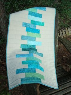 Modern Teal and Cream Quilted Table Runner by Jackiesewingstudio, $52.00