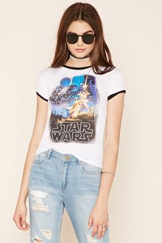 A heathered knit ringer tee featuring a Star Wars™ graphic on the chest, a round neckline, and short sleeves.