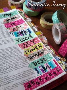 Bible Journaling Supplies {what bleeds, what doesn't, and how to get the most for your money} bible journaling- with washi tape- grace is all you needbible journaling- with washi tape- grace is all you need Bible Journaling For Beginners, Bible Study Journal, Scripture Study, Bible Art, Art Journaling, Scripture Journal, Prayer Journals, Bible Drawing, Bible Doodling