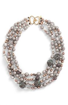 Alexis Bittar Multistrand Faux Pearl Necklace available at Diamond Cross Necklaces, Faux Pearl Necklace, Multi Strand Necklace, Pearl Jewelry, Beaded Jewelry, Jewelery, Beaded Necklace, Jewelry Necklaces, Pearl Rings