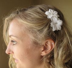Shoply.com -Rhinestone Flower Hair Comb - bridal, white, silver. Only $20.00