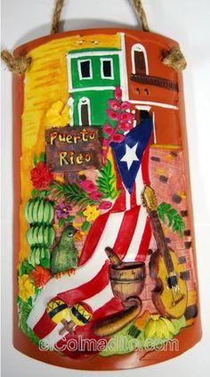 Decorative Shingle with Folklore from Puerto Rico, Tejas Decorativas con Paisajes de Puerto Rico